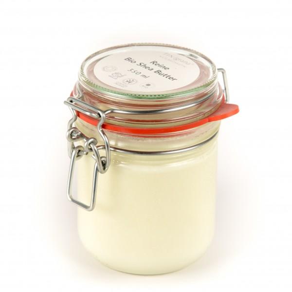 Reine Bio Shea-Butter Körperbutter, 350 ml im Einmachglas mit Bügelverschluss